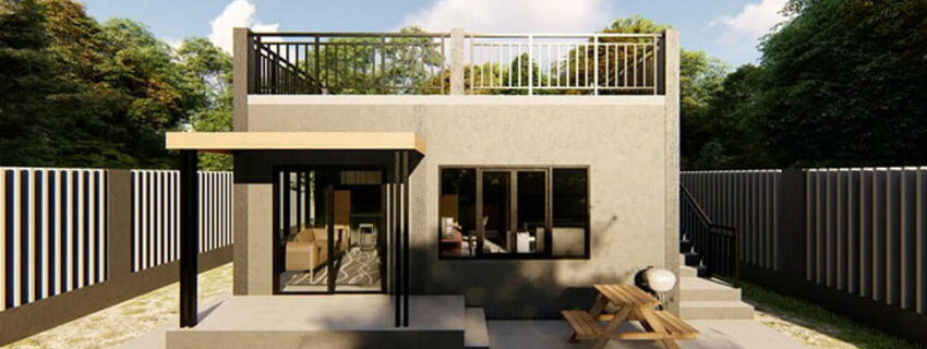 Design of a one-story house with a deck
